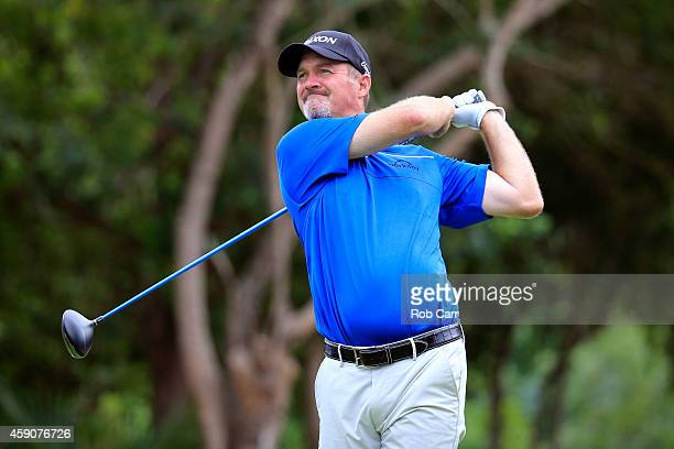 Jerry Kelly of the United States hits a tee shot on the 7th hole during the final round of the OHL Classic at the Mayakoba El Camaleon Golf Club on...