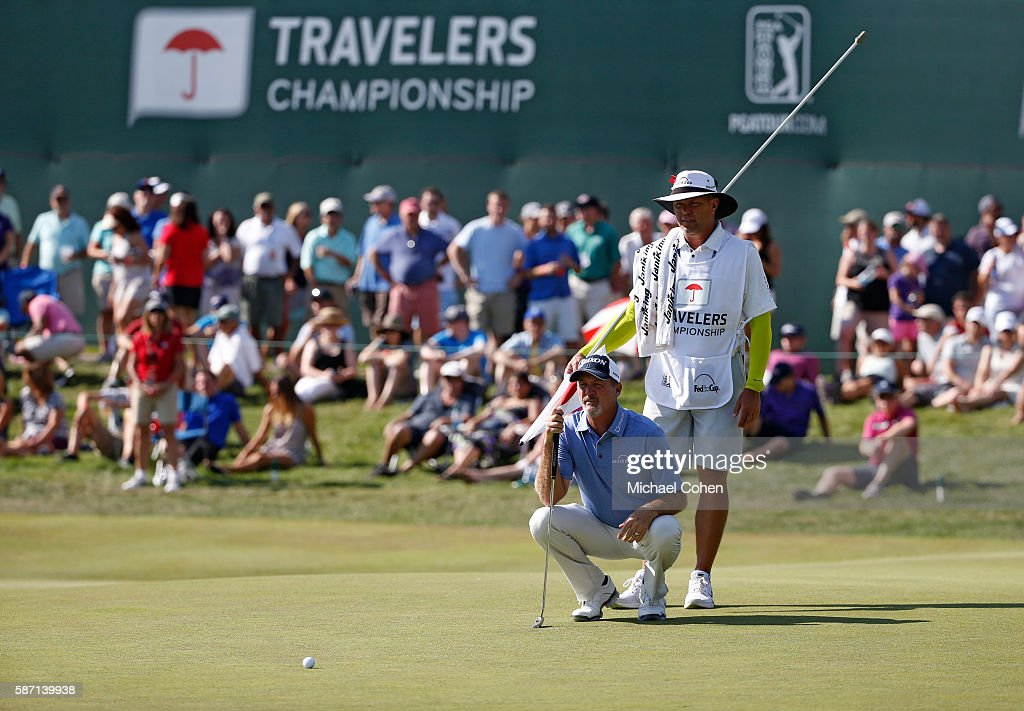 Jerry Kelly of the United States putts on the 17th green during the final round of the Travelers Championship at TCP River Highlands on August 7, 2016 in Cromwell, Connecticut.