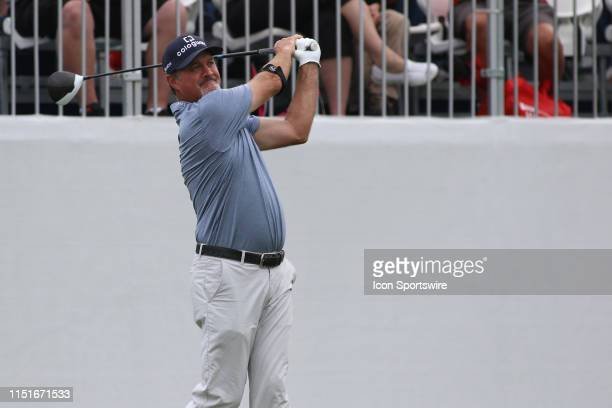 Jerry Kelly of the United States tees off during the final round of the American Family Insurance Championship on June 23 2019 at University Ridge...