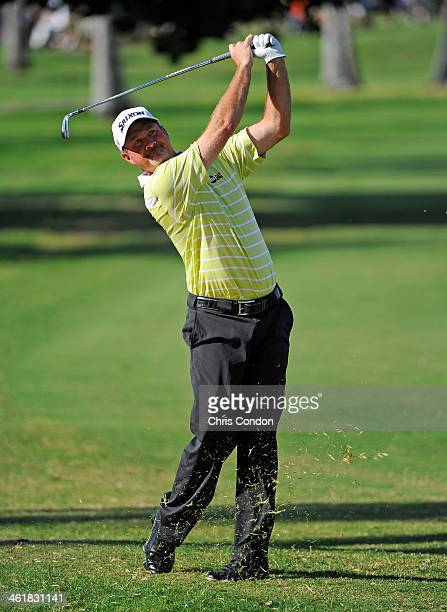 Jerry Kelly plays from the second fairway during the third round of the Sony Open in Hawaii at Waialae Country Club on January 11 2014 in Honolulu...