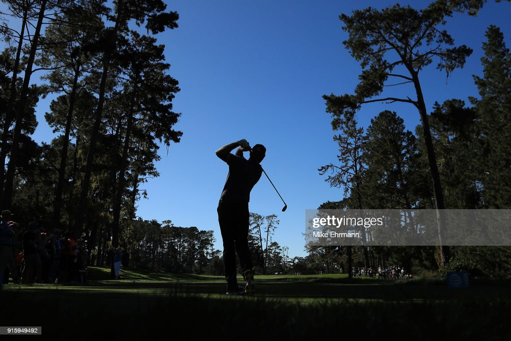 Jerry Kelly plays his shot from the 17th tee during Round One of the AT&T Pebble Beach Pro-Am at Spyglass Hill Golf Course on February 8, 2018 in Pebble Beach, California.