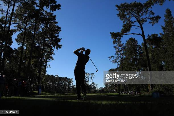 Jerry Kelly plays his shot from the 17th tee during Round One of the AT&T Pebble Beach Pro-Am at Spyglass Hill Golf Course on February 8, 2018 in...