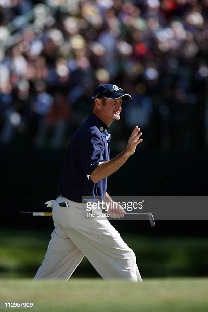 Jerry Kelly reacts after misses an eagle putt on the 15th hole during the final round of The Masters at Augusta National Golf Club in Augusta Georgia...