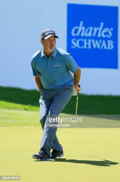 Jerry Kelly reacts to his missed birdie putt at the 18th green during the second round of the American Family Insurance Championship held at...