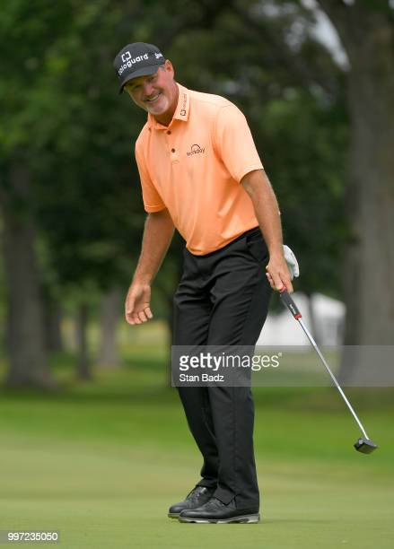 Jerry Kelly reacts to his putt on the seventh hole during the first round of the PGA TOUR Champions Constellation SENIOR PLAYERS Championship at...