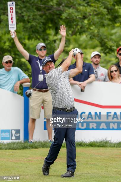 Jerry Kelly tees off on eighteen during the American Family Insurance Championship Champions Tour golf tournament on June 23 2018 at University Ridge...