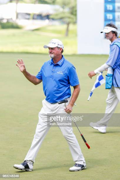 Jerry Kelly waves to the crowd after finishing in second place at the American Family Insurance Championship Champions Tour golf tournament on June...