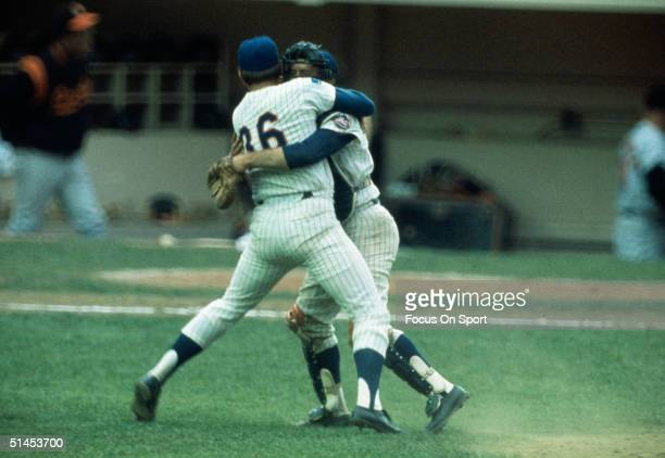 Jerry Koosman and Jerry Grote start in the celebration after the Mets win the1969 World Series against the Baltimore Orioles at Shea Stadium in...