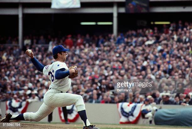 Jerry Koosman of the Mets pitching during the final game of the World Series 10/16 against the Baltimore Orioles at Shea Stadium The Mets won and...