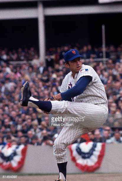 Jerry Koosman of the New York Mets pitches against the Oakland Athletics during the World Series at Shea Stadium in Flushing New York in October of...