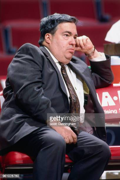 Jerry Krause general manager of the Chicago Bulls looks on during the game against the Dallas Mavericks on December 19 1995 at the United Center in...