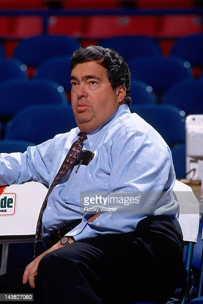 Jerry Krause of the Chicago Bulls looks on against the Sacramento Kings on November 21 1993 at Arco Arena in Sacramento California The Sacramento...