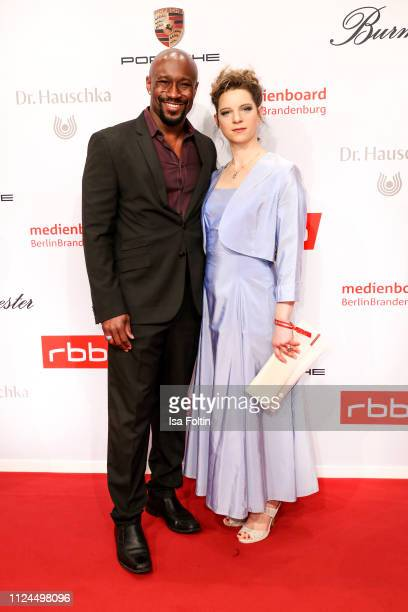 Jerry Kwarteng and German actress Anjorka Strechel attend the Medienboard BerlinBrandenburg Reception on the occasion of the 69th Berlinale...