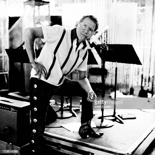 Jerry Lee Lewis is photographed during preparations for the first concert for the Rock and Roll Hall of Fame Museum on September 2 1995 in Cleveland...
