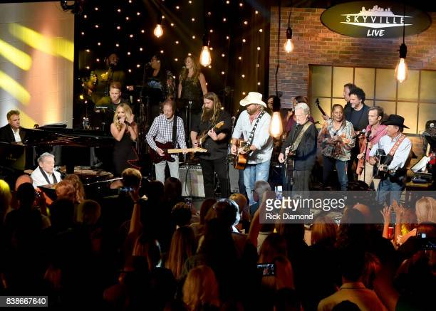 Jerry Lee Lewis Lee Ann Womack Chris Stapleton Toby Keith Kris Kristofferson Waylon Payne and George Strait perform onstage during Skyville Live...
