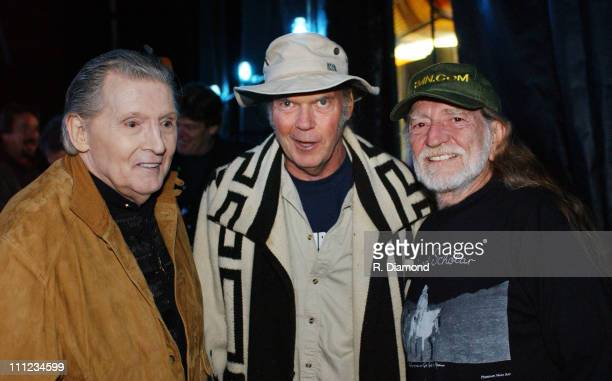 Jerry Lee Lewis Neil Young and Willie Nelson backstage at Farm Aid 2004