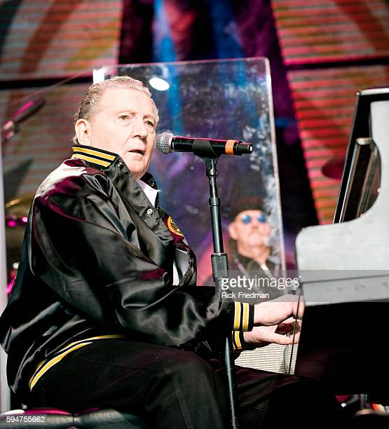 Jerry Lee Lewis performs at the Farm Aid concert at the Comcast Center in Mansfield