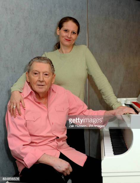 Jerry Lee Lewis pictured with his daughter Phoebe Lewis during a photocall and press conference at the Royal Garden Hotel in Kensington west London