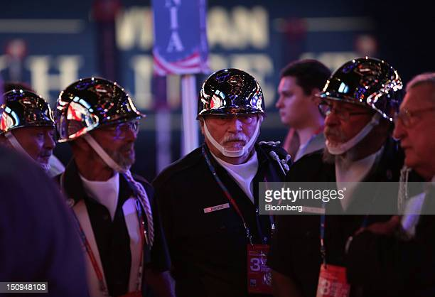 Jerry Lemoyne rifleman with the US Airforce/US Army center stands during a sound check at the Republican National Convention in Tampa Florida US on...