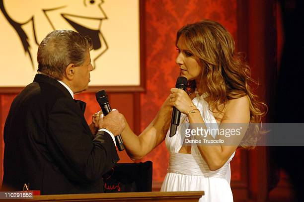 Jerry Lewis and Celine Dion during 2006 Jerry Lewis MDA Telethon Day 1 at South Coast Hotel and Casino in Las Vegas Nevada