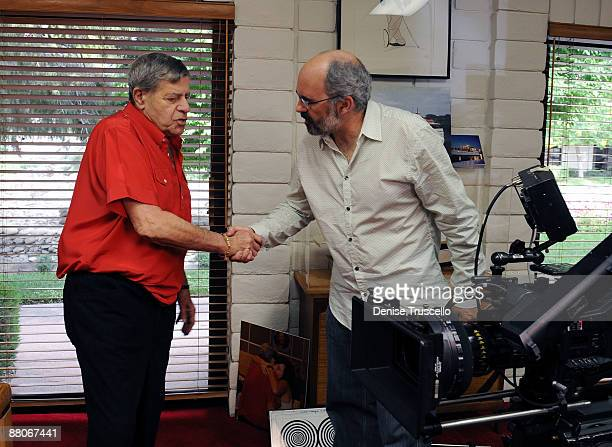 Jerry Lewis and cinematographer Eric Adkins during an interview for the Ina Balin documentary on May 29 2009 in Las Vegas Nevada