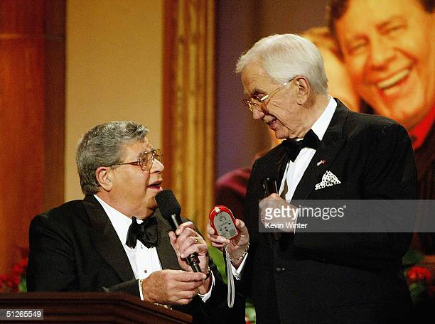 Jerry Lewis and Ed McMahon talk at the start of the 39th Annual Jerry Lewis MDA Labor Day Telethon at CBS Television City on September 5 2004 in Los...
