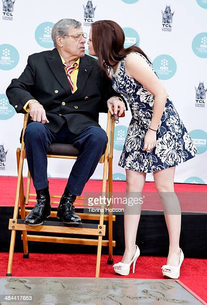 Jerry Lewis and his daughter Danielle Sarah Lewis attend a ceremony to honor Lewis with a hand and footprint ceremony at TCL Chinese Theatre IMAX on...