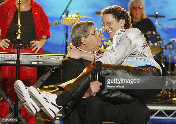 Jerry Lewis and his son singer Gary Lewis joke around at the 39th Annual Jerry Lewis MDA Labor Day Telethon at CBS Television City on September 5...