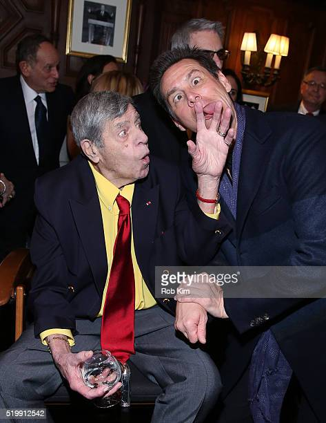 Jerry Lewis and Jim Carrey attend the 90th Birthday Celebration of Jerry Lewis at The Friars Club on April 8 2016 in New York City