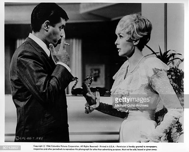 Jerry Lewis is confronted by Janet Leigh in a scene from the movie Three on a Couch circa 1966