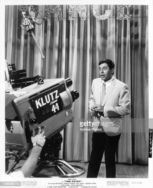 Jerry Lewis is petrified when the camera turns on him in a scene from the film 'The Patsy' 1964