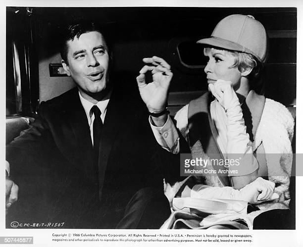 Jerry Lewis talks with Janet Leigh in the car in a scene from the movie Three on a Couch circa 1966