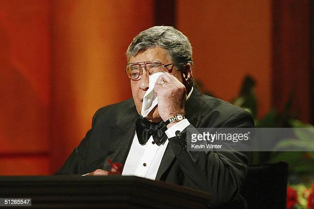 Jerry Lewis wipes away tears during a tribute to Mattie J T Stepanek who died at 13 in June 2004 from Mitochondrial Myopathy at the 39th Annual Jerry...