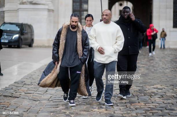 Jerry Lorenzo and Kareem 'Biggs' Burke is seen outside Maison Margiela on January 19 2018 in Paris France
