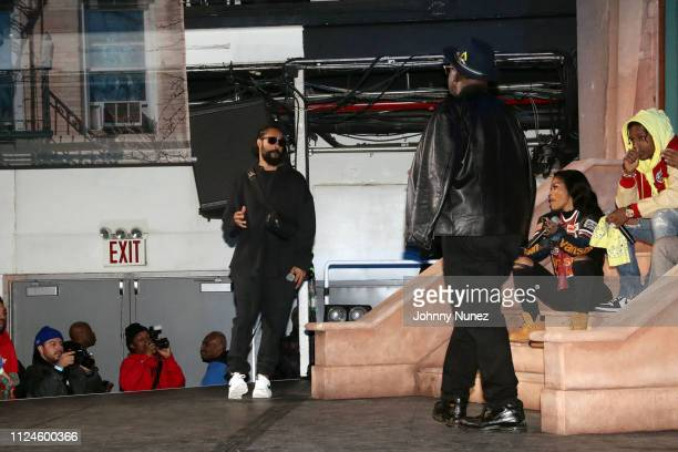 Jerry Lorenzo Fab 5 Freddy Teyana Taylor and A$AP Rocky onstage at Stoop Talks with A$AP Rocky Dapper Dan at Terminal 5 on February 12 2019 in New...