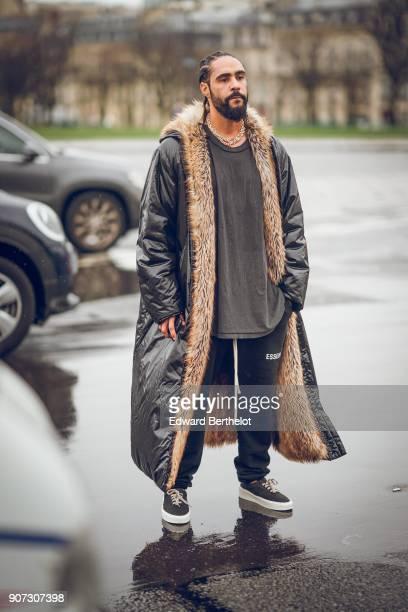 Jerry Lorenzo Fear of God founder is seen outside Maison Margiela during Paris Fashion Week Menswear Fall Winter 20182019 on January 19 2018 in Paris...