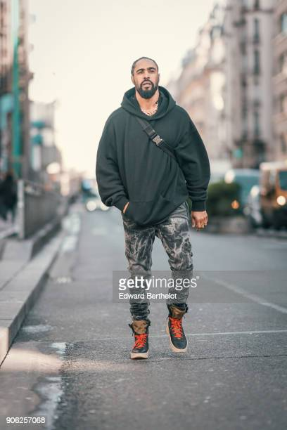 Jerry Lorenzo Fear of God founder is seen outside Off White during Paris Fashion Week Menswear Fall Winter 20182019 on January 17 2018 in Paris France