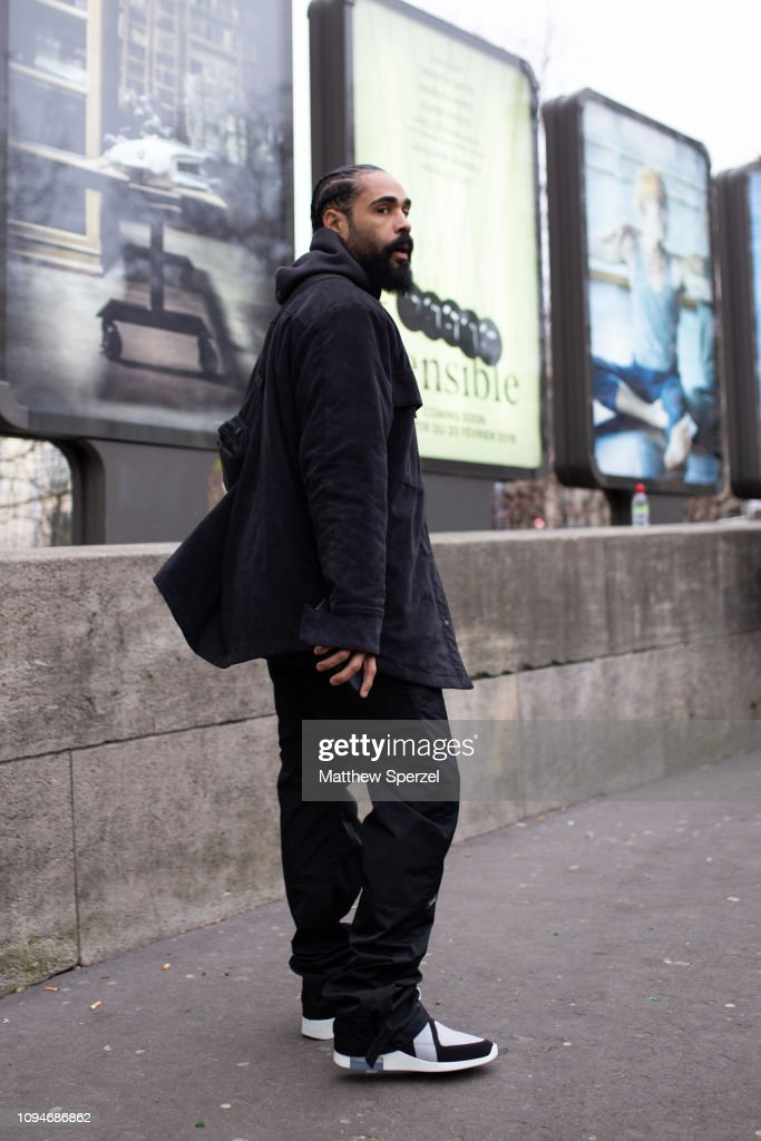 18ba173f4adac Jerry Lorenzo is seen on the street attending the Heron Preston show ...