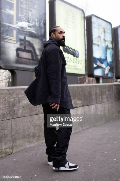 Jerry Lorenzo is seen on the street attending the Heron Preston show during Paris Men's Fashion Week A/W 2019 wearing allblack outfit on January 15...