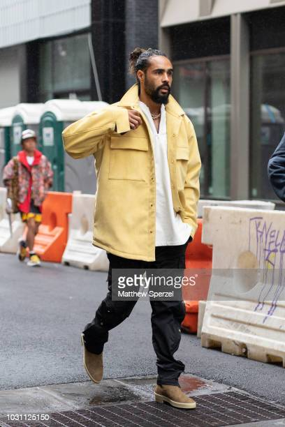 Jerry Lorenzo is seen on the street during New York Fashion Week SS19 wearing yellow jacket with black athletic pants on September 10 2018 in New...