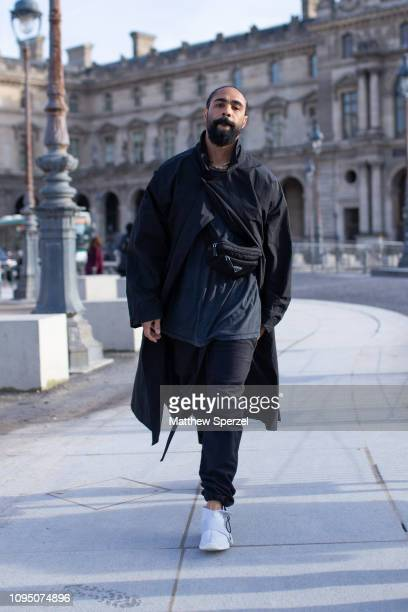Jerry Lorenzo is seen on the street during Paris Men's Fashion Week wearing allblack outfit with white sneakers on January 16 2019 in Paris France