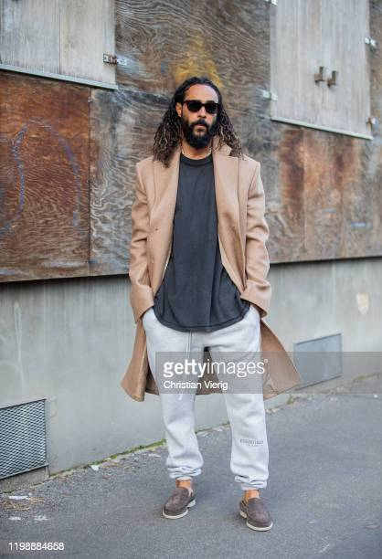 Jerry Lorenzo is seen wearing beige wool coat grey jogger pants outside Marni during Milan Men Fashion Week Fall Winter 2020/2021 on January 11 2020...