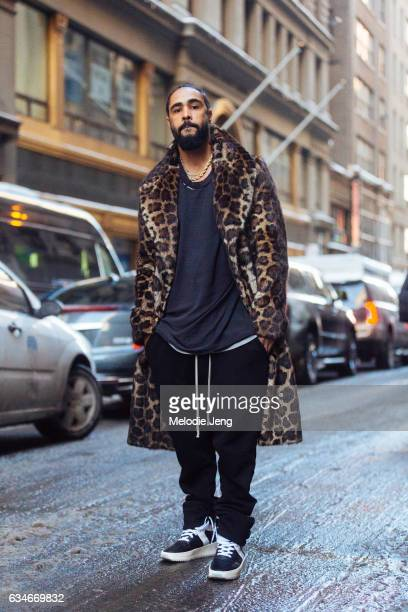 Jerry Lorenzo of Fear of God outside the Calvin Klein show on February 10 2017 in New York City