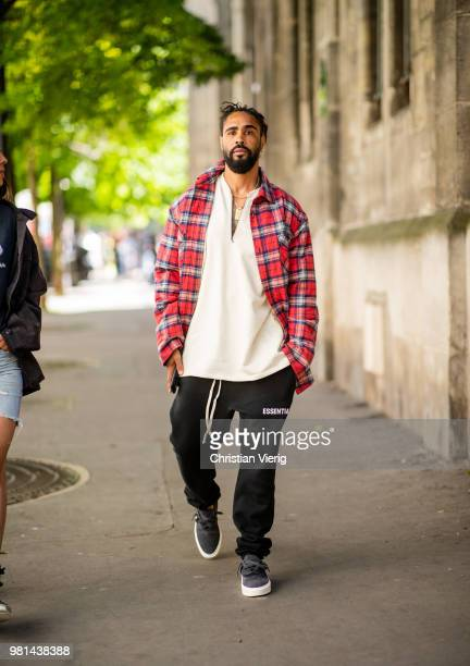 05006ae4b8d08 Jerry Lorenzo wearing lumberjack plaid jacket is seen outside Maison  Margiela on day four of Paris