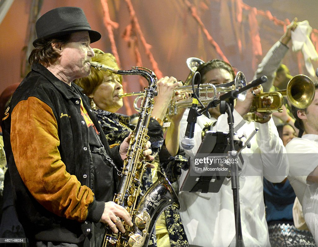 Jerry Martini (L) and Cynthia Robinson and San Francisco Bay Area musicians perform during 'Love City' A Convention and 'Stand!' concert Celebrating Sly and The Family Stone on January 24, 2015 in Oakland, California.