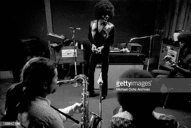 Jerry Martini Sly Stone Cynthia Robinson and Rustee Allen of the psychedelic soul group 'Sly And The Family Stone' records in the studio on April 3...