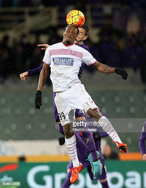 Jerry Mbakogu of Carpi during the Serie A match between ACF Fiorentina and Carpi FC at Stadio Artemio Franchi on February 3 2016 in Florence Italy