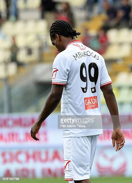 Jerry Mbakogu of Carpi FC disappointed for the defeat at the end of the Serie A match between Carpi FC and SS Lazio at Alberto Braglia Stadium on May...