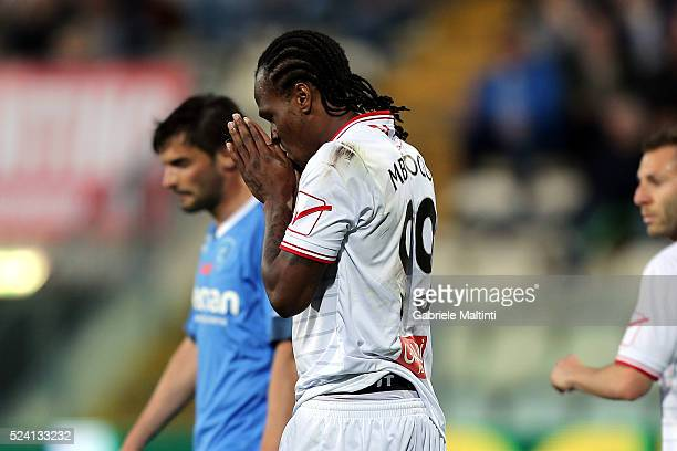 Jerry Mbakogu of Carpi FC shows his dejection during the Serie A match between Carpi FC and Empoli FC at Alberto Braglia Stadium on April 25 2016 in...