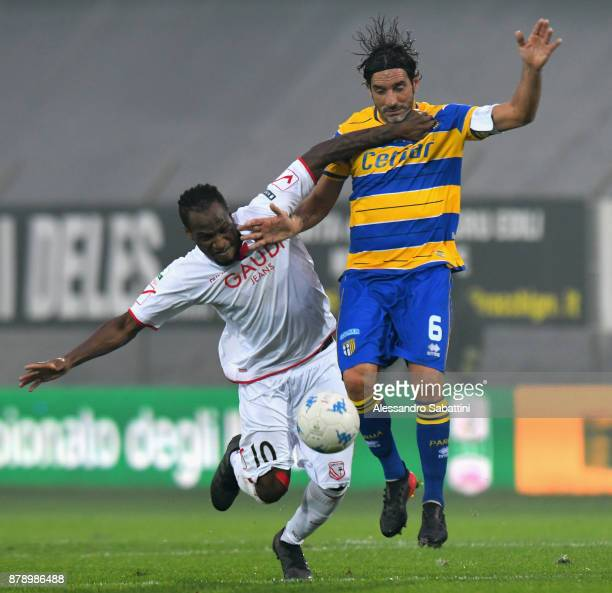 Jerry Mbakogu of FC Carpi competes for the ball whit Alessandro Lucarelli of Parma Calcio during the Serie B match between Carpi FC and Parma Calcio...